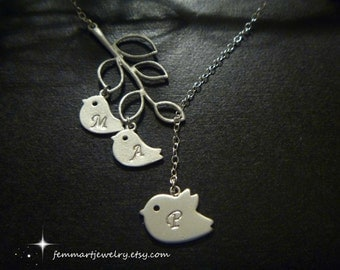 Bird Necklace - Mommy and Two Baby Birds in Branch  -  Lariat Necklace - Initial - Mommy Jewelry - Bird Branch Necklace - Mother of Two