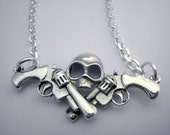 Silver Necklace Guns and Skull