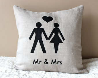 Mr. and Mrs. Hand Painted Pillow Cover - 16x16 Newlywed Cushion Cover - Wedding gift