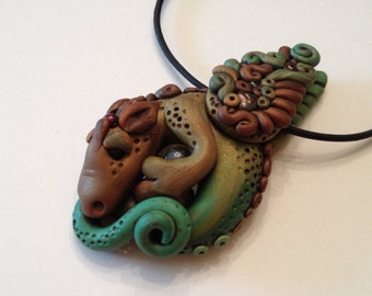 Polymer Clay Brown and Green Dragon Necklace