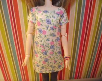 Cream with pink and blue flowers shirt dress for pullip