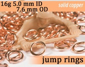16g 5.0 mm ID 7.6 mm OD copper jump rings -- 16g5.00 open jumprings jewelry supplies findings links