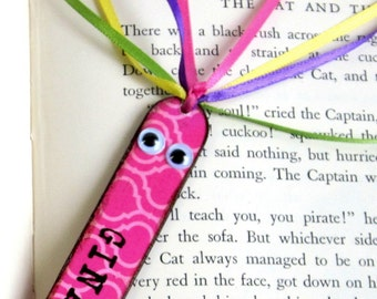 Personalized Kids Bookmark Stocking Stuffer Childrens Book Marker Back to School Class Gift Decoupaged Book Lover Bookworm