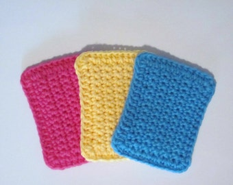 Crochet Cotton sponges, Set of Three