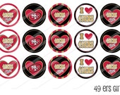 INSTANT DOWNLOAD-49ers Girl-Circles-Bottlecaps