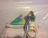 Custom Hand Painted Pastel Rainbow LOW TOP Converse Tie Dye Toms Rainbow Toms Tie Dye Ombre Converse Shoes
