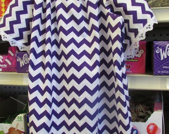 Purple & White Chevron Peasant Dress and Doll Dress To Match Purple is made already but ORDER any Color you want.