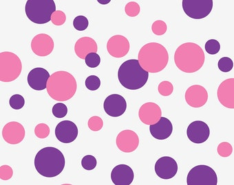 Polka Dot Wall Decal, Wall Pattern Decals, 44 Dots 2, 3, 4 inches in 2 colors (Shown in Pink Flamingo and Purple)