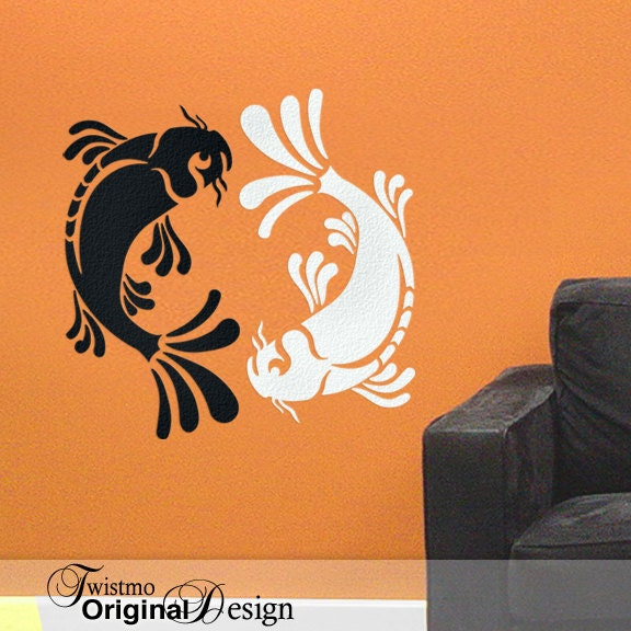 Yin yang pisces koi fish vinyl wall decal art black and white for Koi fish wall stickers