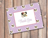 Purple Puppy Thank You DIY Birthday Party Little Girl Pink & Purple Vintage Puppy Dog Thank You Note Fits A2 size envelope INSTANT DOWNLOAD