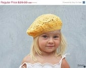 Christmas in July SALE Yellow beret for stylish kid - crochet knit accessories - Dariami