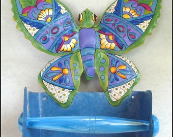 Toilet Paper Holder - Butterfly Tissue Holder - Painted Metal Art Butterfly- Bathroom Decor - Bathroom Accessories - M-900-BL-TP