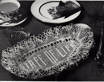 Staff Of Life Filet Crochet Oval Doily Pattern, c.1942 Instant Download