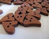 Wood Heart Buttons in Sienna Brown, Painted 20mm x 16mm, 12 Pieces, For Crafts, Sewing, Jewelry Making, Quick Shipping From the USA