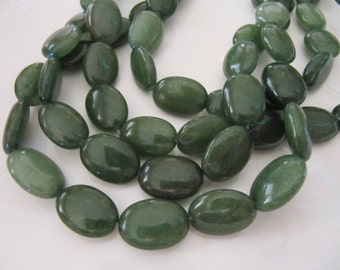 JADE Beads in Green, Flat Oval, 18mm x 14mm, 11 Pieces, Green Gemstone Beads, Dyed White Jade