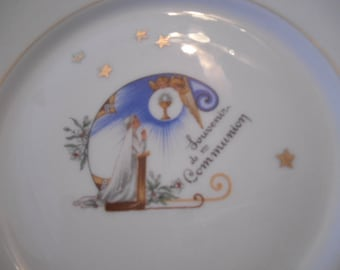 French Souvenir of Communion, First 1st Communion Confirmation Gift Religious Porcelain Set, Cup Saucer Plate