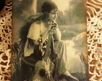 8 Gift Tags Vintage Print Photo Of Gypsy