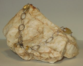 Citrine and Crystal Necklace with Silver Chain