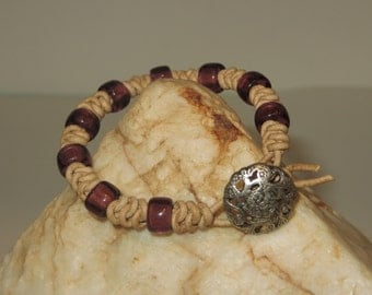Spanish Knot (Snake Weave) Natural Leather Cord Bracelet with Purple Czech Glass Beads and Silver Filagree Button