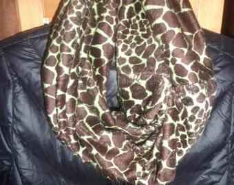 Giraffe Faux Fur Infinity Scarf, Soft, Green (minty green) with Brown Spots, Minky, Under 30 Gift, Etsy Kids