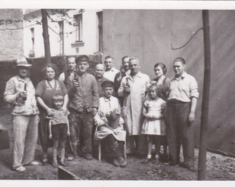 Group in the Street - Vintage Photograph, Vernacular, Ephemera, Found Photo (A)