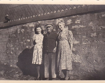 Two Ladies, One Gent - Vintage Photograph, Vernacular, Found Photo  (O)