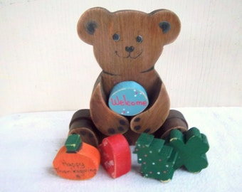 Handmade/Painted Seasonal/Changeable Sitting Shelf Bear