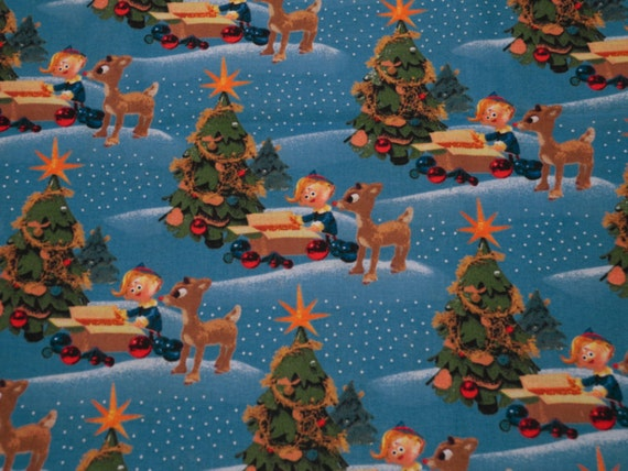 Rudolph the red nosed reindeer destash fabric by