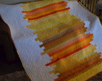 Quilt Line Art Sunrise Sunset Quilt Twin Made to Order