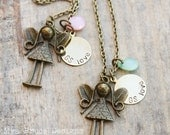 WEEKEND SPECIAL ONLY - Antique gold garden fairy with personalized circle and pink or green crystal - perfect for girl scouts!