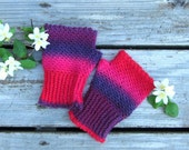 Crocheted Fingerless  Wool/Nylonl Gloves in Valentine's Day Colors