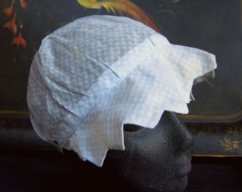 Vintage Baby Bonnet, Sheer Blue and White Check Cotton Fabric