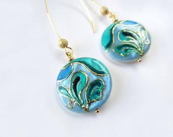 Blue earrings Dangle Earrings Painted by Hand blue jewelry elegant jewelry blue wedding jewelry artisan jewelry  sale jewelry