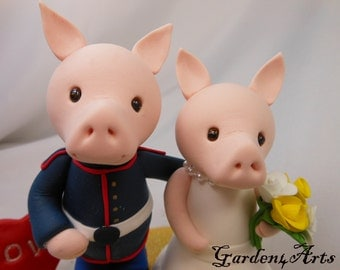 Custom Wedding Cake Topper--Love piggy couple with circle clear base