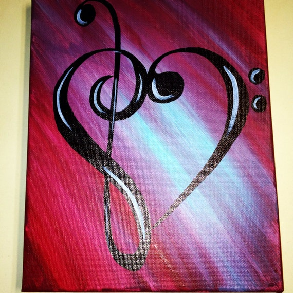 Treble Bass Clef Music Note Heart Painting