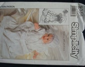 1980s Infants Christening Baptism Gown Slip Hat Jessica McClintock Simplicity 9386 Uncut FF Infants Sewing Pattern Size Newborn to One Year