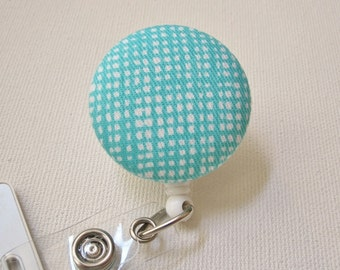 Swivel Clip Badge Reel in Aqua crosshatch