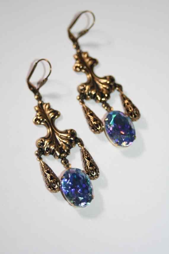 Gothic Grandeur filigree Vintage Czech blue ab crystal earrings