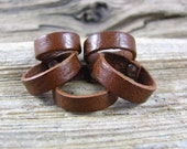 Leather Ring - Mens And Womens Brown Leather Ring Band, Leather Jewelry, Leather Band, Wedding Ring Band