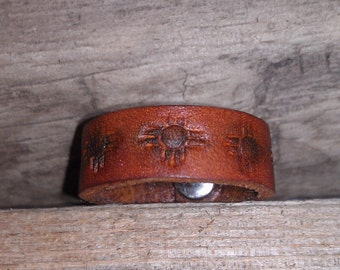 Men's Leather Ring. Ring Band. Leather Jewelry
