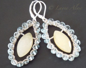 Aquamarine, yellow Chalcedony, and sterling wire wrapped earrings