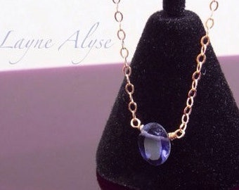 Rose goldfill and inky blue purple Iolite necklace