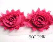 "Shabby Chiffon Rose Trim - 1 yard -- 2 1/2"" wide - Hot Pink"