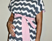 LINED Kennedy Maternity Delivery Gown - Grey and White Chevron - Lined in Your Choice of Color - By Mommy Moxie on Etsy