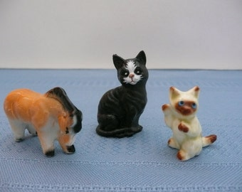 Three Miniature Animals; miniature cats and miniature china horse