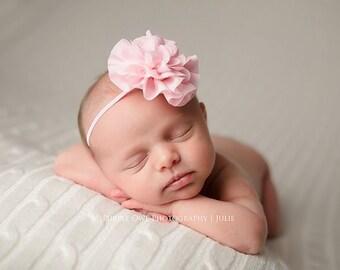 Pink baby headband, infant headband, newborn headband, pink headband, photo prop, pink hair band, light pink headband pink flower bow