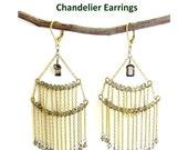 Elaborate 3-Tier Smoky Quartz Beads G.F. Chandelier Earrings