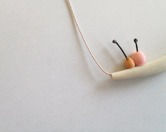 Berries in a branch. pink orange polymer clay necklace with silk cord
