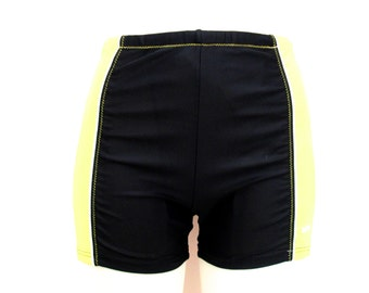 90's Neon High Rise Black Bicycle  Shorts  size - S/M