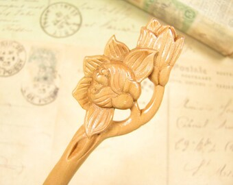 Peach Wood Hair Stick - Magnolia Flower